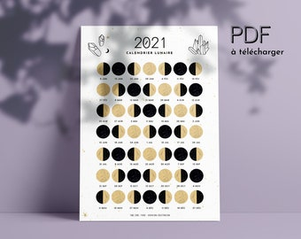 Printable Moon calendar 2021 (French), Lunar phases, PDF, New Moon, Full Moon, Gardening, Rituals, Moon phases, Witch, instant download