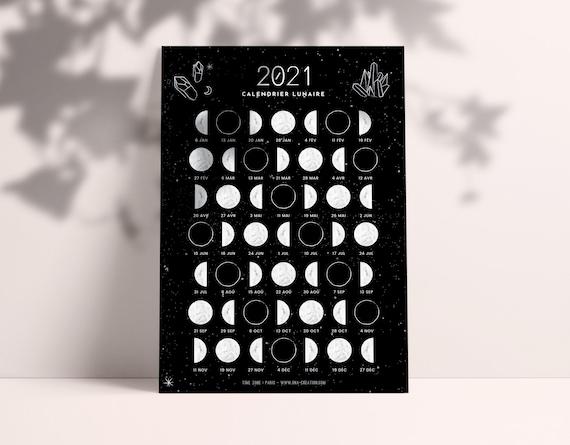 Calendrier lunaire 2021 phases de lune Carte Moon Calendar | Etsy