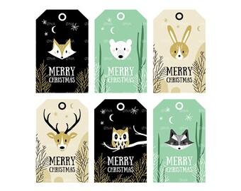 Printable Christmas Tags - Woodland Animals   Instant Download   Merry Christmas   Christmas Printables   DIY Gift tags   Deer, bear, fox...