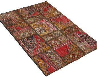 Living Room Decor, 6x8, Patchwork Rug, Handmade Patchwork, Wool Rug, Red Carpet, Multicolored, Area Rug, Rug, Area Rugs, Multicolored, Rugs