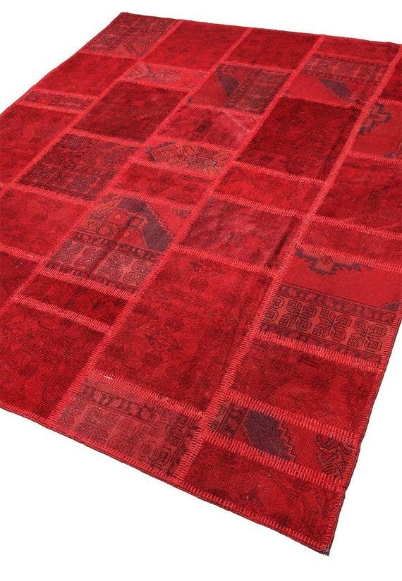 Moderne Patchwork Handgeknupft Teppich Vintage Bereich Rot Etsy