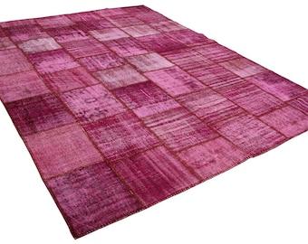 """9'11 """"x 13'5 «tapis 9 x 13, tapis turque-tapis, tapis surdimensionné, tapis patchwork, tapis rose, rose vintage, tapis, tapis roses vieillis"""
