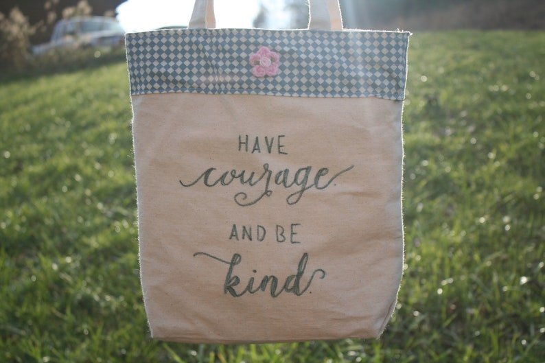 Large Hand-lettered Canvas Tote Bag with Fabric and Calligraphy Inspirational sayings