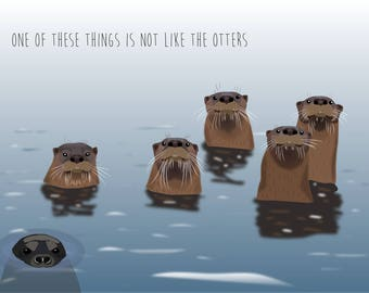 """River otter """"One of these things is not like the otters"""" Mug/Water Bottle"""