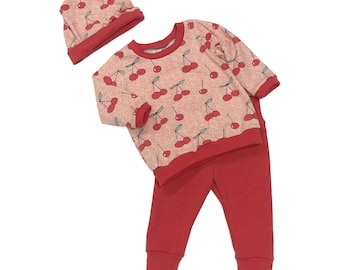 Size 3/6 months - Very Cherry - 3 Piece Set - Baby Set - Baby Shower Gift - New Baby Outfit - Organic Baby Clothes