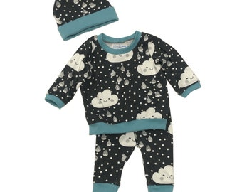 Size 0/3 months - Happy Clouds - 3 Piece Set - Baby Shower Gift - Going Home Outfit - New Baby Clothing Set - Organic Baby Set