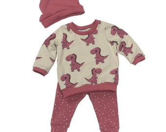 Size 6/9 months - Pink Dinos - 3 Piece Set - Baby Set - Baby Shower Gift - New Baby Outfit - Organic Baby Clothes
