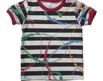 Size 7 Kid - Paint Splatter Stripes T-Shirt!