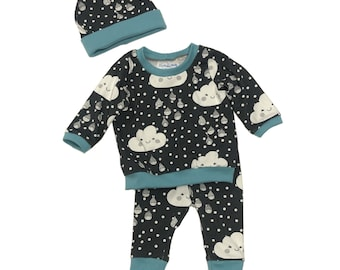 Size 3/6 months - Happy Clouds - 3 Piece Set - Baby Set - Baby Shower Gift - New Baby Outfit - Organic Baby Clothes