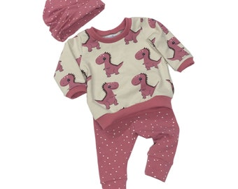 Size 0/3 months - Pink Dinos - 3 Piece Set - Baby Shower Gift - Going Home Outfit - New Baby Clothing Set - Organic Baby Set