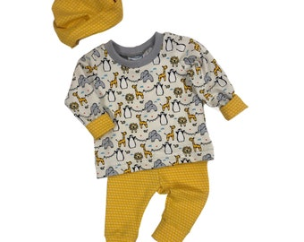 Size 0/3 months - Zoo Animals - 3 Piece Set - Baby Shower Gift - Going Home Outfit - New Baby Clothing Set - Organic Baby Set