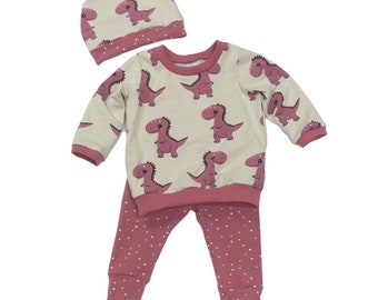 Size 3/6 months - Pink Dinos - 3 Piece Set - Baby Set - Baby Shower Gift - New Baby Outfit - Organic Baby Clothes