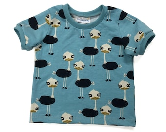 Size 18 months - Blue Ostrich Short Sleeve T-Shirt - Toddler Shirt - Organic Toddler T-Shirt - Unisex Kids T-Shirt