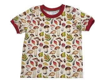 Size 5T - Fall Mushrooms Short Sleeve T-Shirt - Kids Shirt - Kids Short Sleeve T-Shirt - Unisex Kids T-Shirt