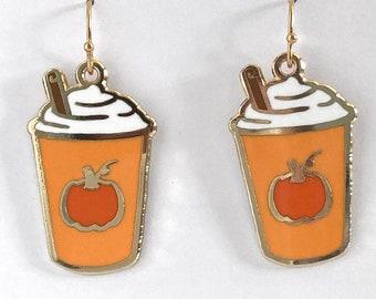 Pumpkin Spice Latte dangle earrings - fall earrings - autumn earrings - coffee earrings - pumpkin earrings