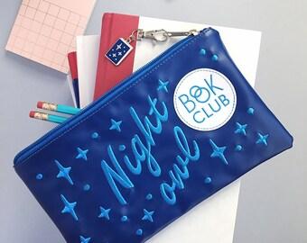 Night Owl Book Club zipper clutch - bookish - zipper pouch - organizer bag - pencil pouch
