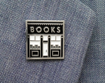 Book Shop enamel pin - books pin - gift for book lovers - literary jewelry - bookstore pin - book store pin - reading pin - bookshop pin