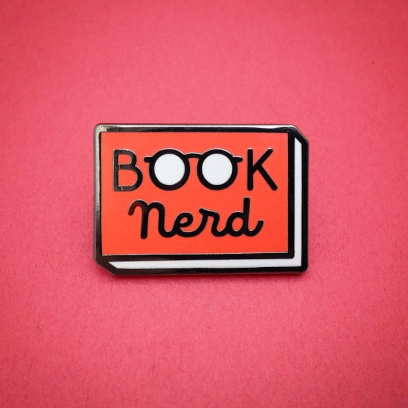 Book Nerd enamel pin  Book enamel pin  Reading Pin  lapel Red