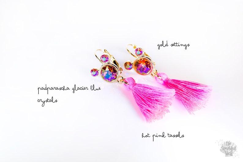 Mickey Ears Hot Pink Tassel Earrings  Swarovski Padparascha image 0