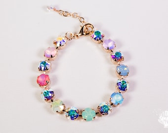 Pastel Rainbow Crystal Swarovski Rose Gold Bracelet- 8mm