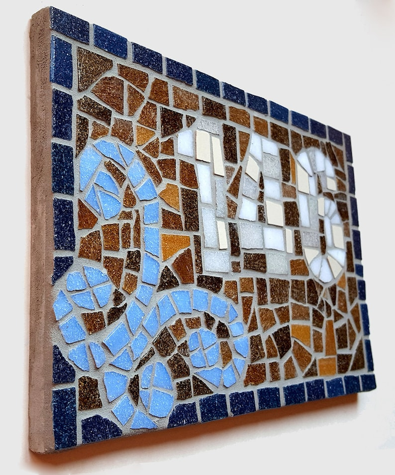 House Number New Home Mosaic Sign Custom Plaque image 0