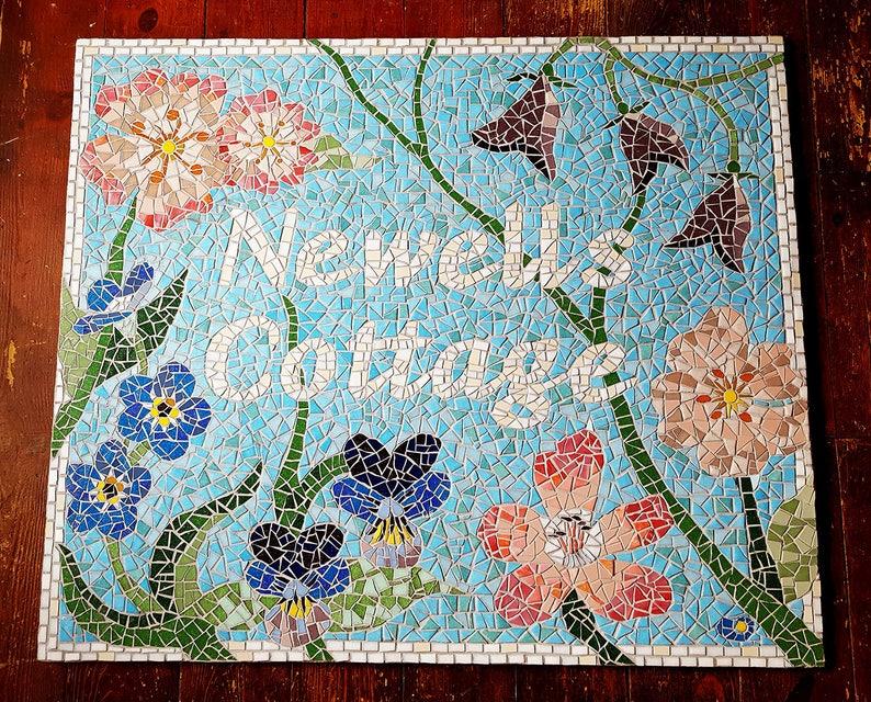 Housewarming Gift Address Sign Mosaic Sign Large House image 0