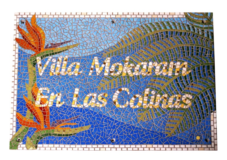 Address Sign House Sign Villa Sign Cottage Sign Mosaic image 0