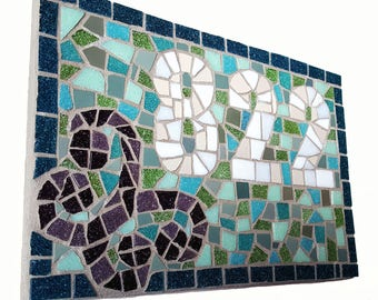 Wedding Gift, Christmas Gift, Anniversary Gift, House Number, Sign, New Home, Mosaic, Plaque, Housewarming Gift, Door Number, Address Sign