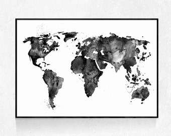 Mapa de acuarela negra etsy watercolour map print oversized art black and white large poster modern minimalist watercolour map map wall art travel print gumiabroncs Images