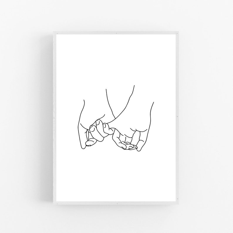 Couple Holding Hands Print Modern Art Poster Sketch Line Drawing Art Print Bedroom Wall Art Wall Art Hands Sketch Figurative Drawing