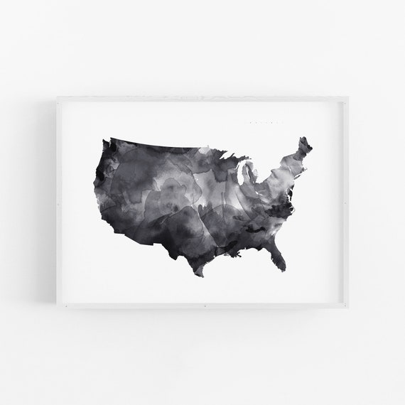 Watercolour US Map LARGE PRINT, Map Poster, Scandinavian Print, Modern  Minimalist, United States Map, Black And White, Map Of United States