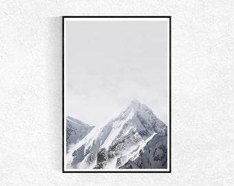 Mountains Print, Scandinavian Print, Mountains Poster, Snow, Winter Wall Art, Landscape Wall Art, Modern Printable Art