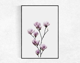 Magnolia Poster, Botanical Print, Flower Print, Scandinavian Print, Flower Wall Art, Pink Wall Art, Printable Art