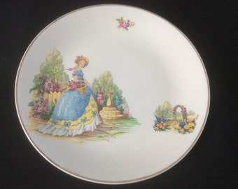 Vintage Lady In Blue China Cake Plate
