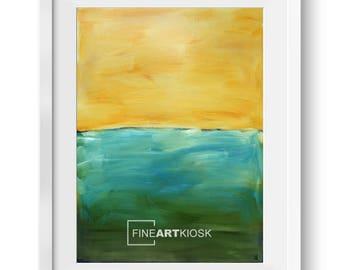Horizont-Wand-Kunst-VII, See-Landschaft-Poster, Wand-Kunst-Druck, Orange-Türkis-Dekor, Öl-Malerei, digitale Art-Datei