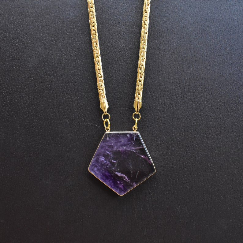 Eurytus Gold Plated Amethyst Pentagon Woven Flat Chain Statement Necklace DEJ-N19NWA10
