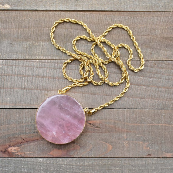 Gold Plated Pink Long Chain Rose Quartz Pendant Necklace Natural Stone
