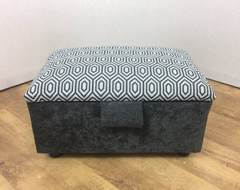 Dark Grey & Patterned top fabric Stool/Storage Box/Pouffe