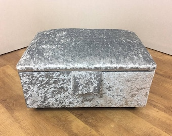 Silver Crushed Velvet Stool/Storage Box/Pouffe