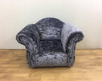 Children's/Kids Armchair in Lavender Crushed Velvet Fabric