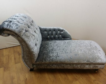 Steel  Grey Crushed Velvet Chaise Lounge
