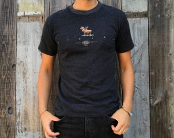 Alaska Wilderness Retro Tee, Outdoor Moose Limited Edition Grey Alaska T-Shirt | Mens Vintage Clothing