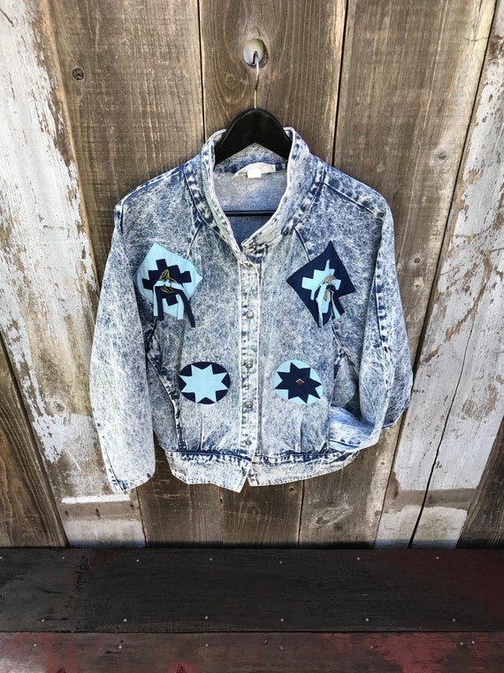 Vintage Acid Wash Denim Jacket | Awesome Retro 80… - image 7