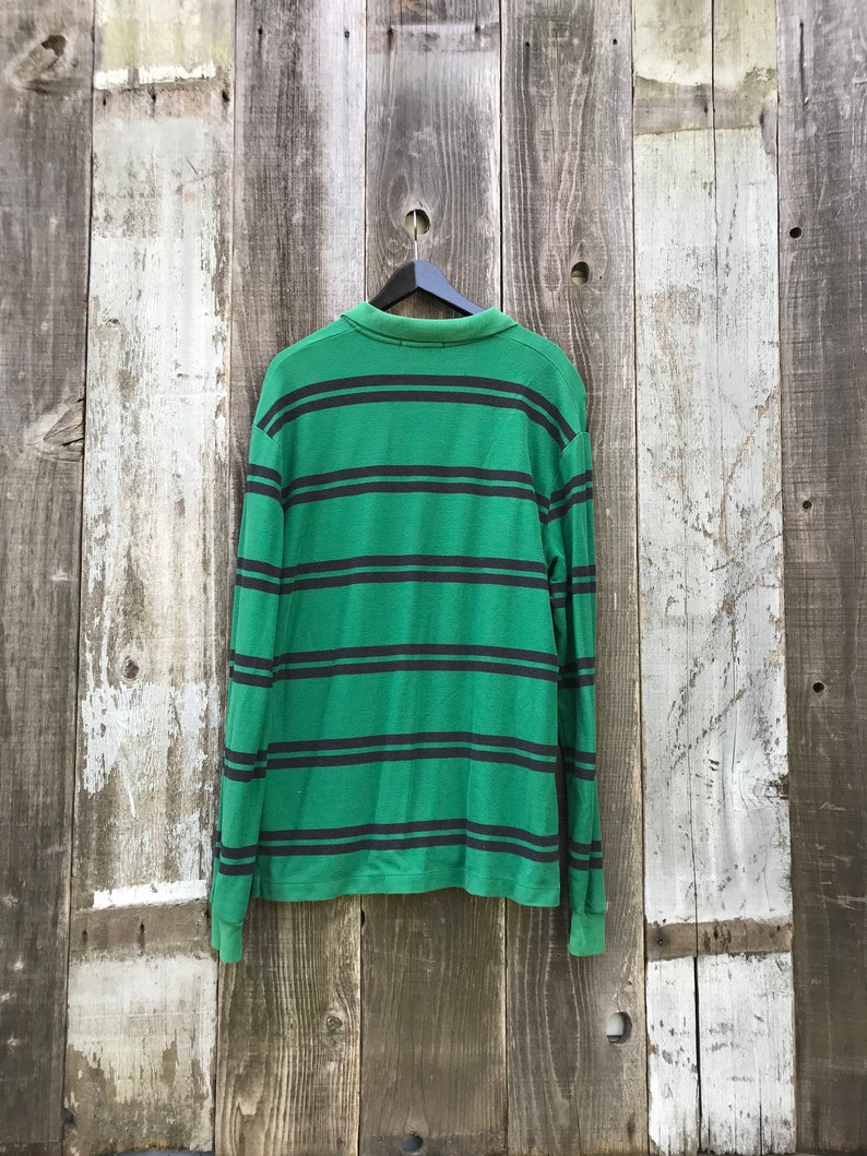 Mens Vintage Clothing Faded Rugby Polo Long Sleeve Rugby Polo Excellent 90s Rugby Polo Mens Long Sleeve Rugby Polo Green Polo L