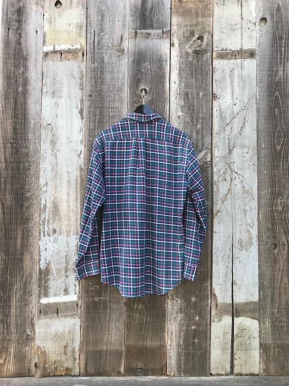 90s Lands End Flannel Shirt   Soft Mens Flannel S… - image 6
