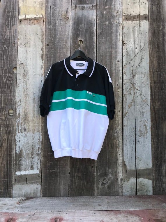90s Members Only Polo Shirt | 90s Patterned Polo S