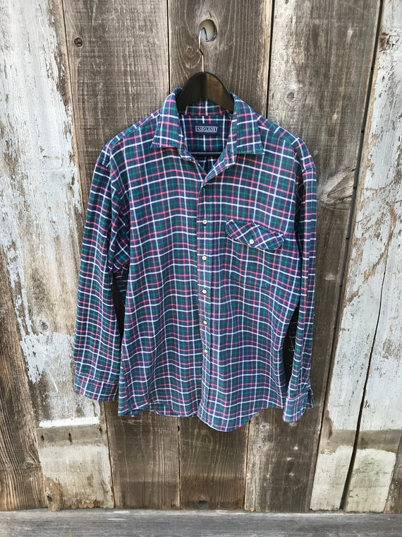 90s Lands End Flannel Shirt   Soft Mens Flannel S… - image 3