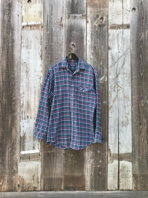 90s Lands End Flannel Shirt   Soft Mens Flannel S… - image 2