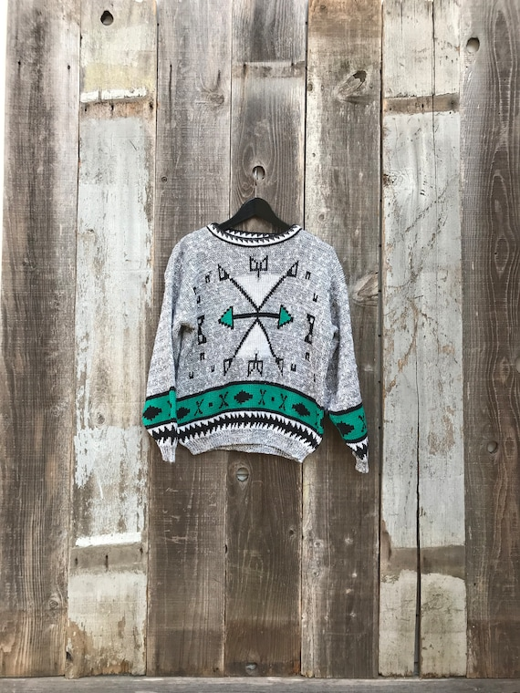 Beautiful 80s Sweater | 80s Tribal Sweater | Women