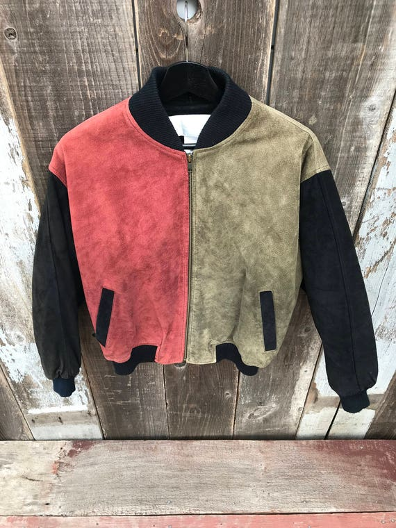 Jacket Smooth Color Color Block Leather 90s 90s Jacket Mens Mens Mens Jacket Block Jacket Mens Color Block Leather Leather BFwSB